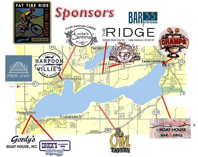 Fat Tire Ride of Lake Geneva, WI Sponsor Map